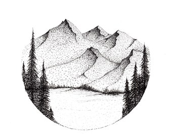 Mountain Ink Drawing + Black Frame, 8.5 x 11