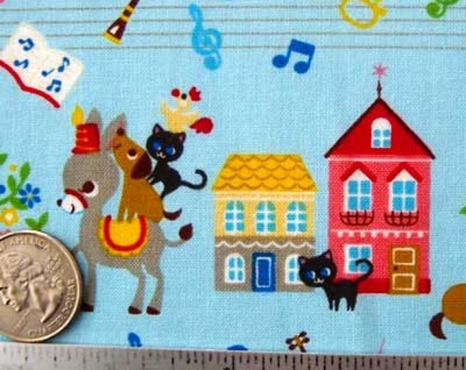 """Japanese ANIMAL PARADE BLUE Cotton Quilt Quilt Fabric - Fq Fat Quarter 18"""" x 21"""" - Rare & Out of Print"""