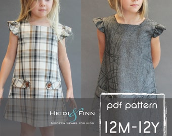 Dorset dress PDF sewing pattern and tutorial 12m-12y  tunic dress jumper  easy sew