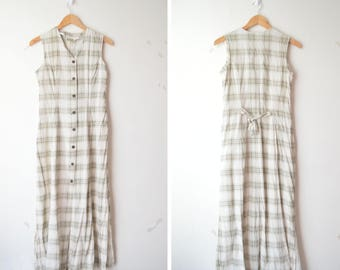neutral beige checked plaid button down maxi linen dress 90s // S-M