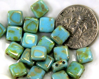2 Hole Square Tile Beads, 6 mm, Glass Tile Beads, Sky Blue, 6mm, Accent Beads, Spacer Beads, 25 Pieces