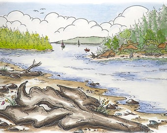Driftwood beach, WA - Whimsical Watercolor Art, Blank Greeting Card