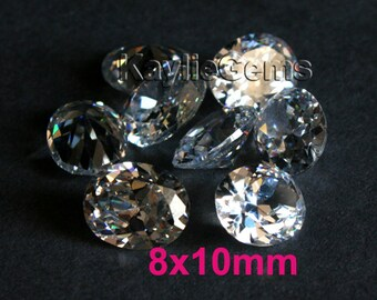 AAAAA Quality 10x8mm Oval Cubic Zirconia CZ Loose Stone Diamond Brilliant Cut - Diamond Clear - 2pcs
