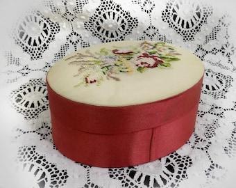 Needle Point box - trinket box with lid - cross stitch box - needle work box - keepsake box -floral motif box -bedroom dresser box -# 49