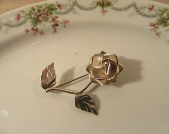 Sterling silver rose pin with stem and leaves- vintage, nice condition- ready to wear- accessories, jewelry