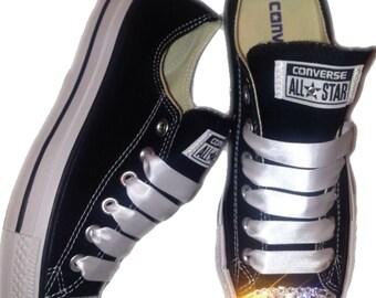 Converse Classic Low Top Swarovski Bling Chucks - Black