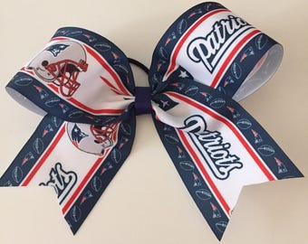 """New England Patriots 8"""" wide cheer bow - Stunning!  Super Bowl Football hair bow"""