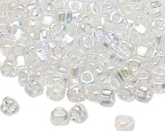 4mm iris clear Miyuki # TR5-1151 triangle glass beads, 20 grams, approx. 250 beads. Memory wire jewelry, loom, wedding, bridal, winter, pure