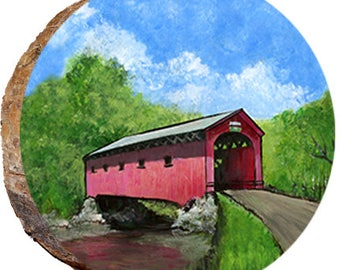 Covered Bridge Over A Stream - DSB163
