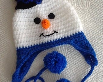 Snowman Hat with Top Hat, Earflaps and Pompons, Crochet Baby Hat, Snowman Hat, Baby Hat, Newborn Hat, Baby Girl Hat, Baby Boy Hat