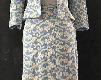 1940's Baby Blue Embroidered Linen Suit Jackie Nimble Suit Peplum Suit 40's
