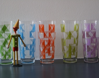 5 colorful highball glasses from MDL from the years 60