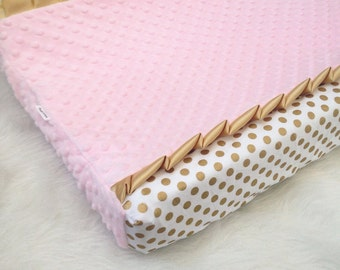 Gold, pink polka dot changing pad cover, gold ruffle trim and baby pink blush minky dot