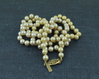 Vintage Faux Pearls Necklace - Hand Knotted Cream Pearls
