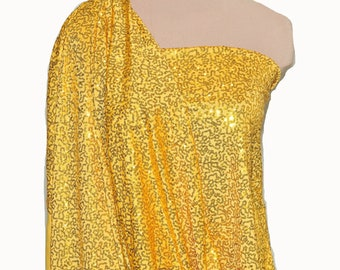 """Sewn on Sequin fabric 58"""" Yellow.. stretch all 4 ways..great for costumes, dance, theater, formal wear, pageant"""