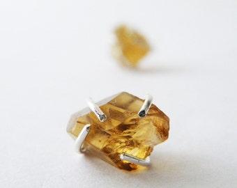Raw Citrine Stud Earrings Honey Nuggets Studs Cognac Citrine Sterling Silver Studs Zen Jewelry by SteamyLab