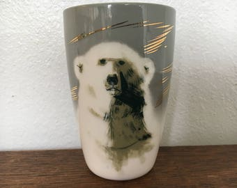 Matthew Adams Polar Bear Vase / Large Tumbler Sascha Brastoff #143 Alaska