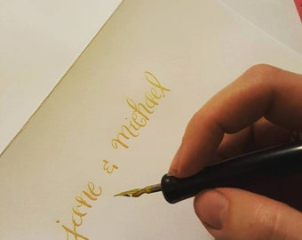 Handwritten Calligraphy Wedding Envelopes- Gold