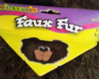 Brown Faux Fur, Twelve By Fifthteen  Inches, One Piece. Fiber Fake Fur Animal Craft Supply