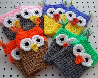 Cute Owl Fingerless Gloves Pattern