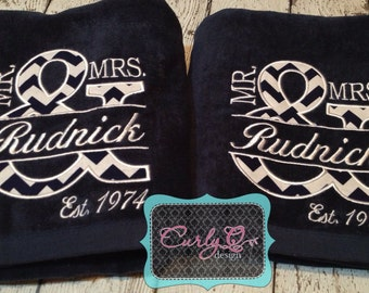 Wedding or anniversary gift - set of two large beach towels embroidered and custom