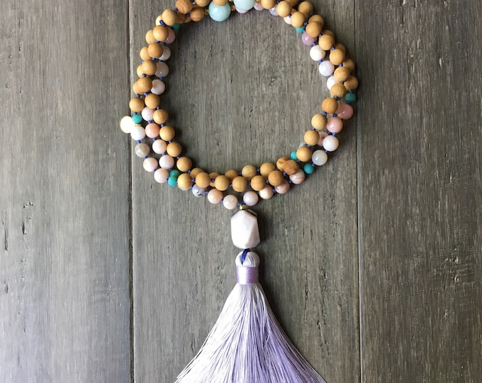 Featured listing image: Pink Opal Aura Tranquility Mala Necklace, 108 Beads, Hand Knotted, Chakra Necklace, Yoga Jewerly, Mala Beads, Meditation Necklace, Yoga,