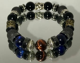 """8"""" 12mm Mohogany and Blue tiger eye,silver accented beaded bracelet"""