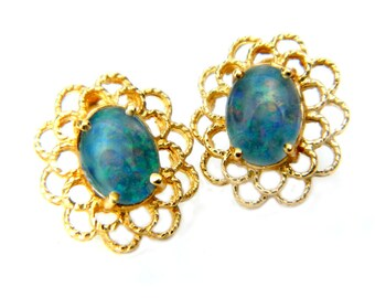 14K Gold Blue Opal Earrings Filigree Design Vintage Estate Gemstone Jewelry Blue Opal Flash Color Gift For Her, Wife, Mother, Sister