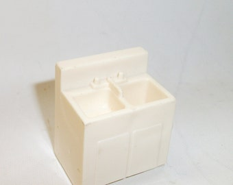 Vintage Fisher Price Kitchen White Double Sink Little People Toy