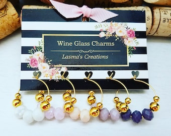 5 WINE GLASS CHARMS, Bridal Shower Wine Charms, Mauve Tone Favors, Wine Party Accessory, Wine Gift, Wine Charms, Barware, LasmasCreations