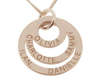 Personalised Family Name Necklace 9ct Rose Gold Plated on Silver Triple 3 Rings Disc Mothers Pendant with Chain - Gift Idea for Mum Mom