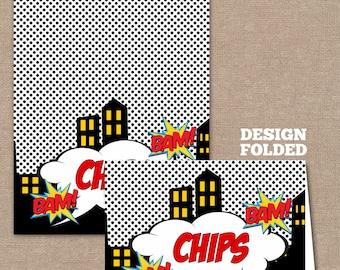 INSTANT DOWNLOAD-Superhero food Labels, Food Labels, Buffet Labels, Tent Cards, Place Cards, Superheroes, Superhero (#262)