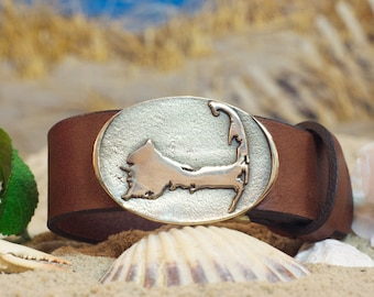 Cape Cod Map Leather Belt