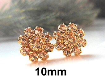 Light Peach and Gold Earrings,  Green Rhinestone Cluster Studs, 10mm Crystal Cluster Studs, Bridesmaid Peach Crystal Studs