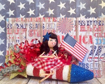 Patriotic Patty july 4th ornament 4th of july decor atomic retro vintage inspired American USA art doll bottle rocket