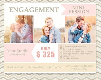 Engagement Mini Session - Photography Marketing Template - Marketing Board 011 - C036, INSTANT DOWNLOAD