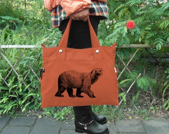 Orange canvas shoulder bag tote messenger bag women, custom screen print tote bag feminist adult diaper crossbody bag personalized gift