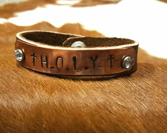 Holy copper stamped leather cuff