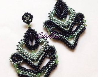Tattoo earrings, exclusive Solemani design, high costume jewellery, textile jewelry, finely handcrafted, unique gift