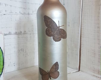 Upcycled decorated wine bottle silver copper butterfly