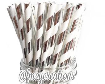 FOIL SILVER Paper Straws, 25 Metallic Silver Foil Stripe Straws, SILVER Weddings, 25th Birthday Party, 25th Wedding Anniversary Diy Flags