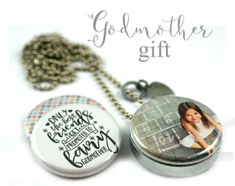 Godmother Gift • Godmother Locket Necklace • Godchild Photo • Godmother Jewelry • Interchangeable Lids • Stamped Heart Charm • God Mother