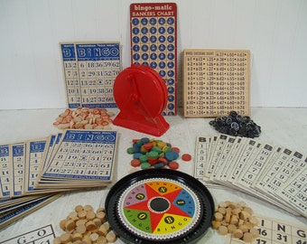 BINGO Equipment Huge Collection of Cards Chips Vintage Wooden Bingo Caller and Player Chips, Player Cards and Caller Charts for Repurposing
