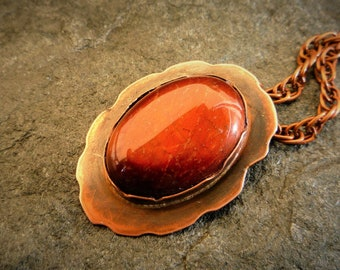 Copper necklace, Gemstone pendant, Red Tiger eye stone, Artisan necklace, Metalwork jewelry, Short necklace