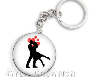 Keyring 25 love 13 mm glass cabochon