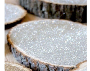 Wood slices for centerpieces with glitter finish, for weddings or any event