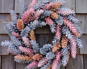 """Hand Painted Maine Pinecone Wreath -19"""" Spring Easter"""