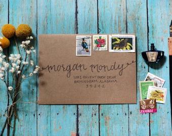 Custom Calligraphy Modern Wedding Envelopes Party Envelopes - Type Rope