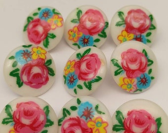 Gorgeous rose, floral vintage plastic buttons, craft and sewing destash!