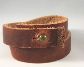 Leather bracelet/Repurposed leather/Double wrap